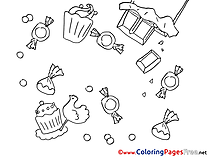 Candies printable Birthday Coloring Sheets