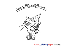 Cat free Birthday Coloring Sheets