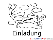 Clouds Dog Coloring Pages Birthday