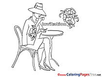 Coffee Colouring Sheet download Birthday