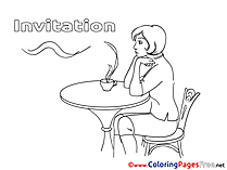 Coffee download Birthday Coloring Pages