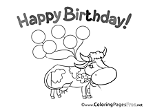 Cow download Birthday Coloring Pages