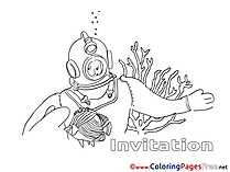 Diver Birthday free Coloring Pages