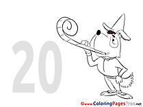 Dog 20 Years for Kids Birthday Colouring Page