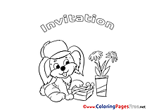 Dog Children Birthday Colouring Page