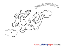 Elephant Kids Birthday Coloring Pages