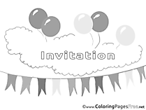 Evening Party Kids Birthday Coloring Page