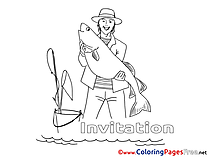 Fisherman Coloring Pages Birthday