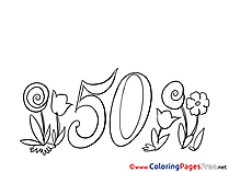 Flowers 50 Years Coloring Sheets Birthday free