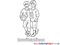 Football Children Invitation Colouring Page
