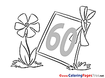 Frame 60 Years free Birthday Coloring Sheets