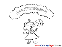 Girl free Colouring Page Birthday