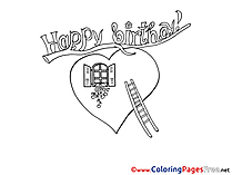 Heart download Birthday Coloring Pages