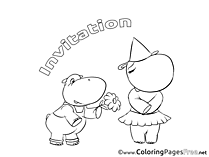 Hippo Colouring Page Birthday free