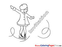 Ice Skates Children Birthday Colouring Page
