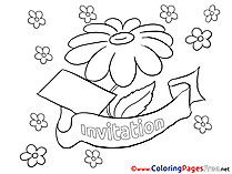Invitation Birthday free Coloring Pages