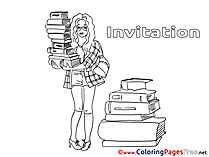 Librarian Children Birthday Colouring Page