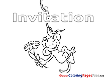 Monkey Colouring Page Birthday free