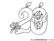 Owl 20 Years Colouring Page Birthday free