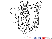 Owl download Birthday Coloring Pages