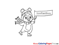 Penguin Kids Birthday Coloring Pages