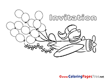 Plane Colouring Page Birthday free