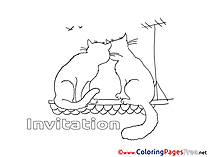 Roof Cats free Colouring Page Birthday