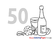 Shampagne 50 Years Colouring Sheet download Birthday