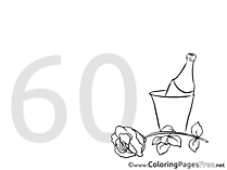 Shampagne 60 Years Birthday free Coloring Pages
