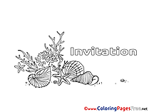 Shells Birthday Colouring Sheet free
