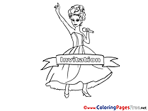 Singer for Kids Birthday Colouring Page