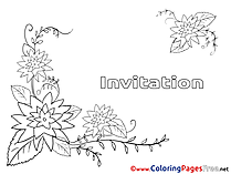 Summer Flowers Birthday Colouring Sheet free
