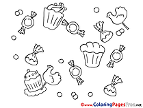 Sweets printable Birthday Coloring Sheets