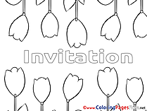Tulips Coloring Sheets Birthday free