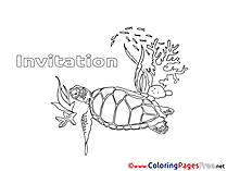 Turtle Kids Birthday Coloring Pages