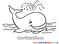 Whale for Kids Birthday Colouring Page