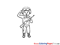 Military Man printable Coloring Pages for free