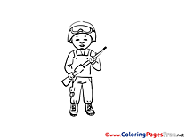 Soldier Colouring Page printable free