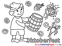Barrel Oktoberfest for Kids printable Colouring Page