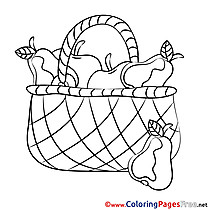 Basket Fruits Coloring Sheets download free