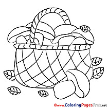 Basket Mushrooms Kids download Coloring Pages
