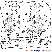 Birches Children download Colouring Page