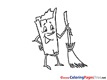 Broom printable Coloring Pages for free