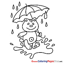 Cat Umbrella Coloring Pages for free