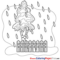 Fence Rain Colouring Page printable free