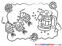 Fish Oktoberfest download printable Coloring Pages