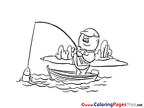 Fisherman for Kids printable Colouring Page