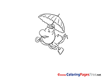 Fly Umbrella for Children free Coloring Pages
