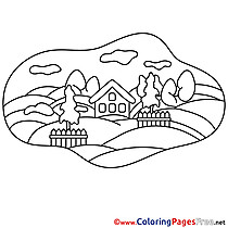 House for Kids printable Colouring Page