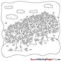 Leaf Fall Children Coloring Pages free